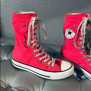Converse All Star Pink Fold-Down Extra Hi Tops